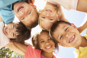 Young children smiling